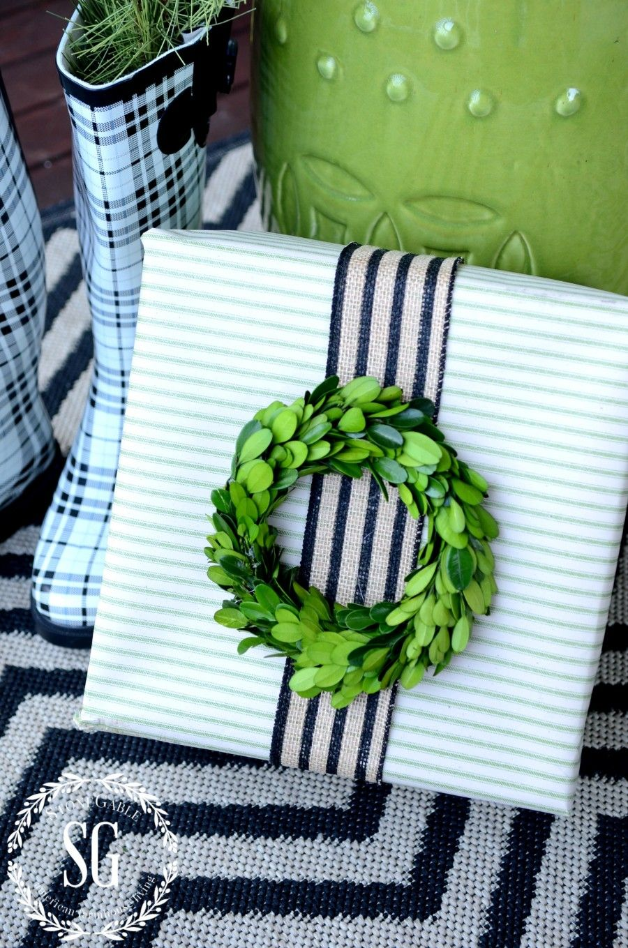 CHRISTMAS GIFT WRAP-green and natural striped gift
