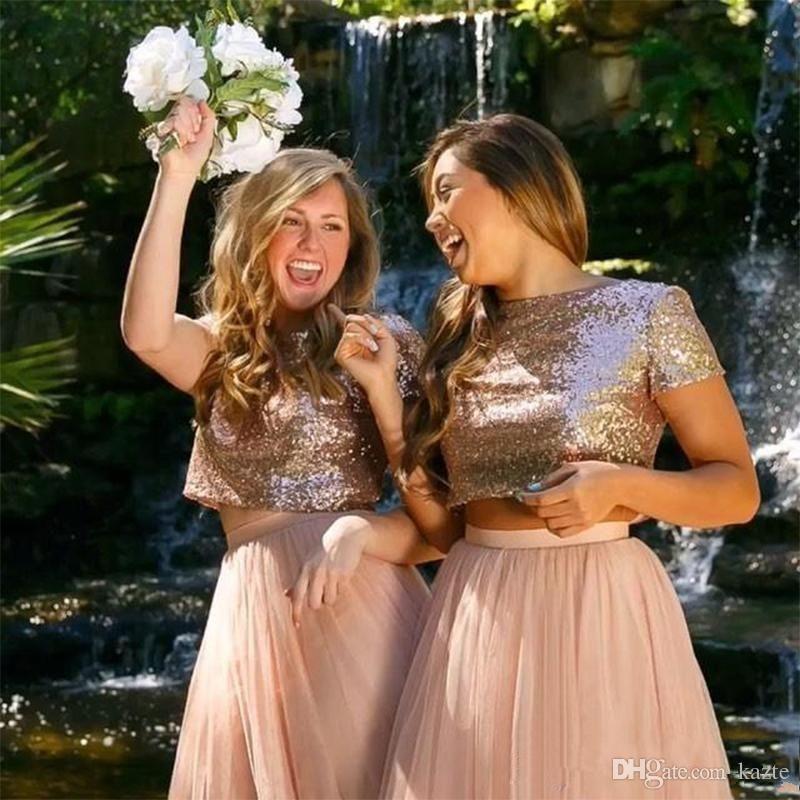2018 Junior Bridesmaid Dresses Rose Gold Blush Sequin Short Sleeves Skirt Two  Piece Beach Wedding Guest Dress Graduation Dress Mermaid Wedding Dress Rose  ... 68e0fa4879b6