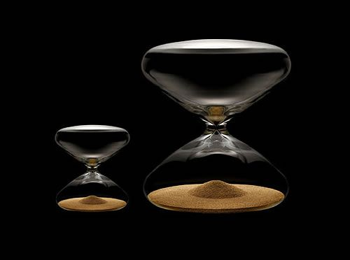 Marc Newson's latest venture - an hourglass with nanoballs! At ony 9500 Euro don't let them slip though your fingers