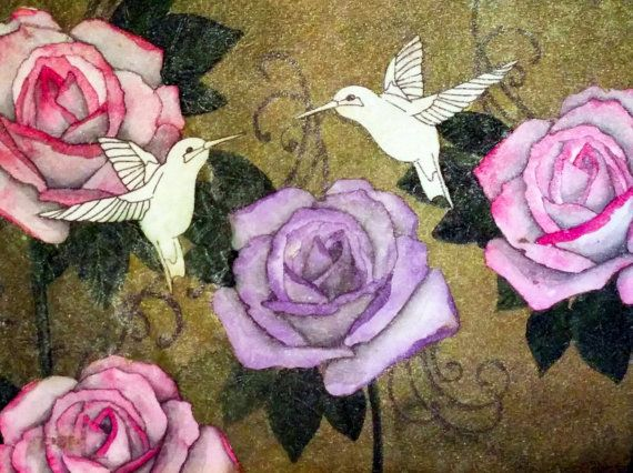 Gardenscape Fine Art Watercolor  Print Hummingbirds Roses