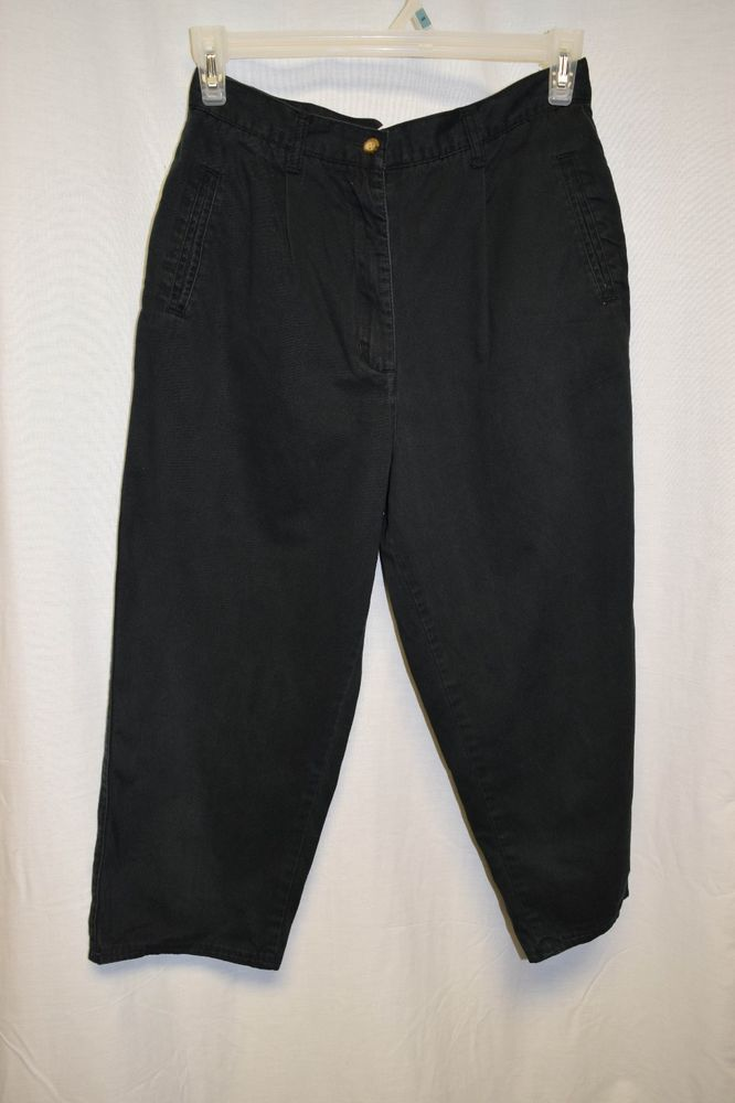 Womens Capri's Size 12 By Innovation Sport Black Pleated Button Zipper Pockets #InnovationSport #Jean