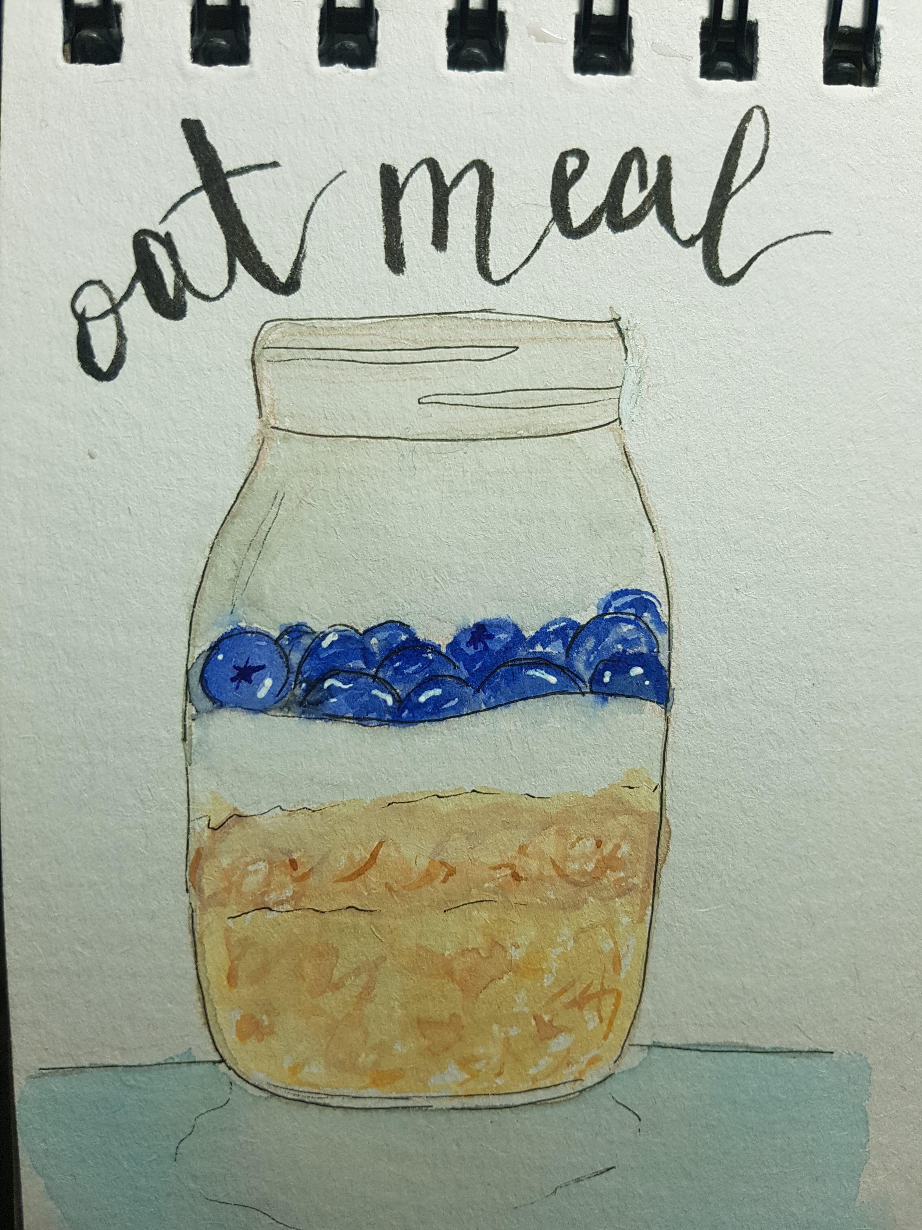 Watercolor Oat Meal Jar Food Illustration رسم طعام حر بالألوان المائية Sketch Book Food Illustrations Art