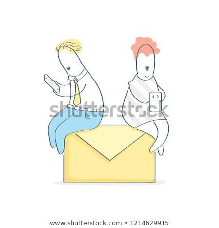 Chatting online messaging write and sen email concept cute cartoon man woman also businessmen businesswoman discuss new idea or solution share rh pinterest