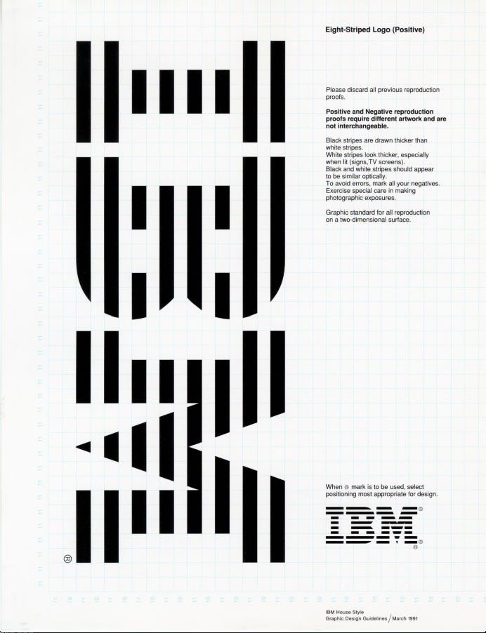 Page with logo from IBM graphic design guide, 1985