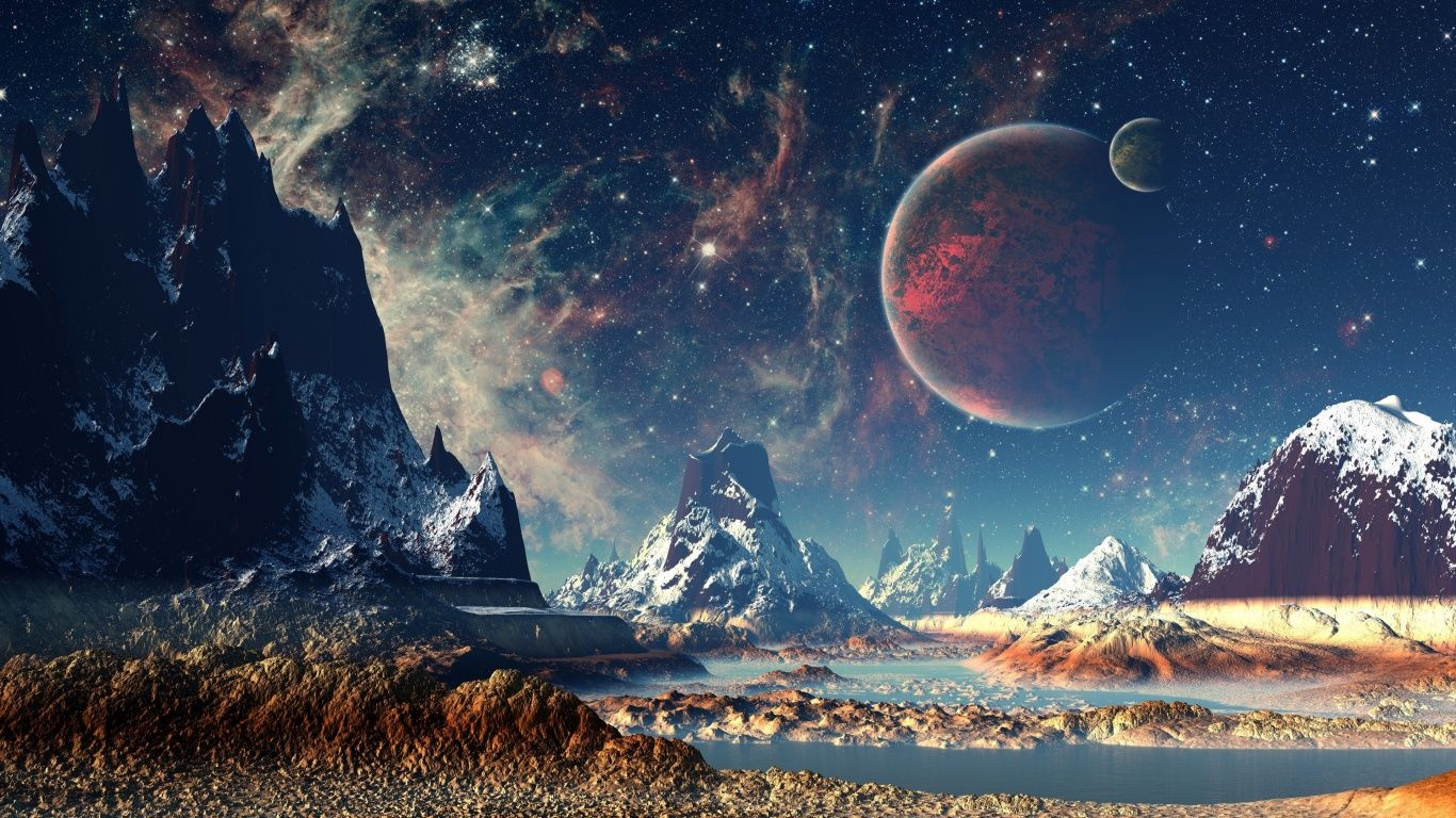 Red Planet Snow Fantasy Stars Night Stones 4k Moon Mountains Wallpaper Best Hd Wallpapers Landscape Wallpaper Planets Wallpaper Nature Wallpaper