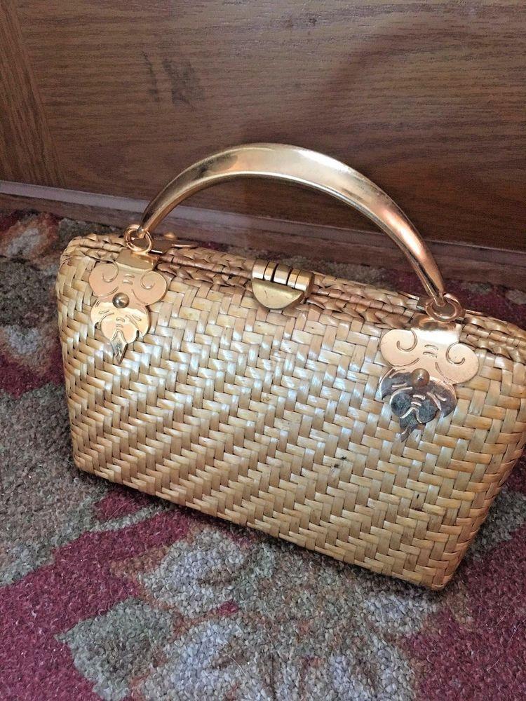 Vtg Sacha Woven Straw Made In Italy Handbag Purse