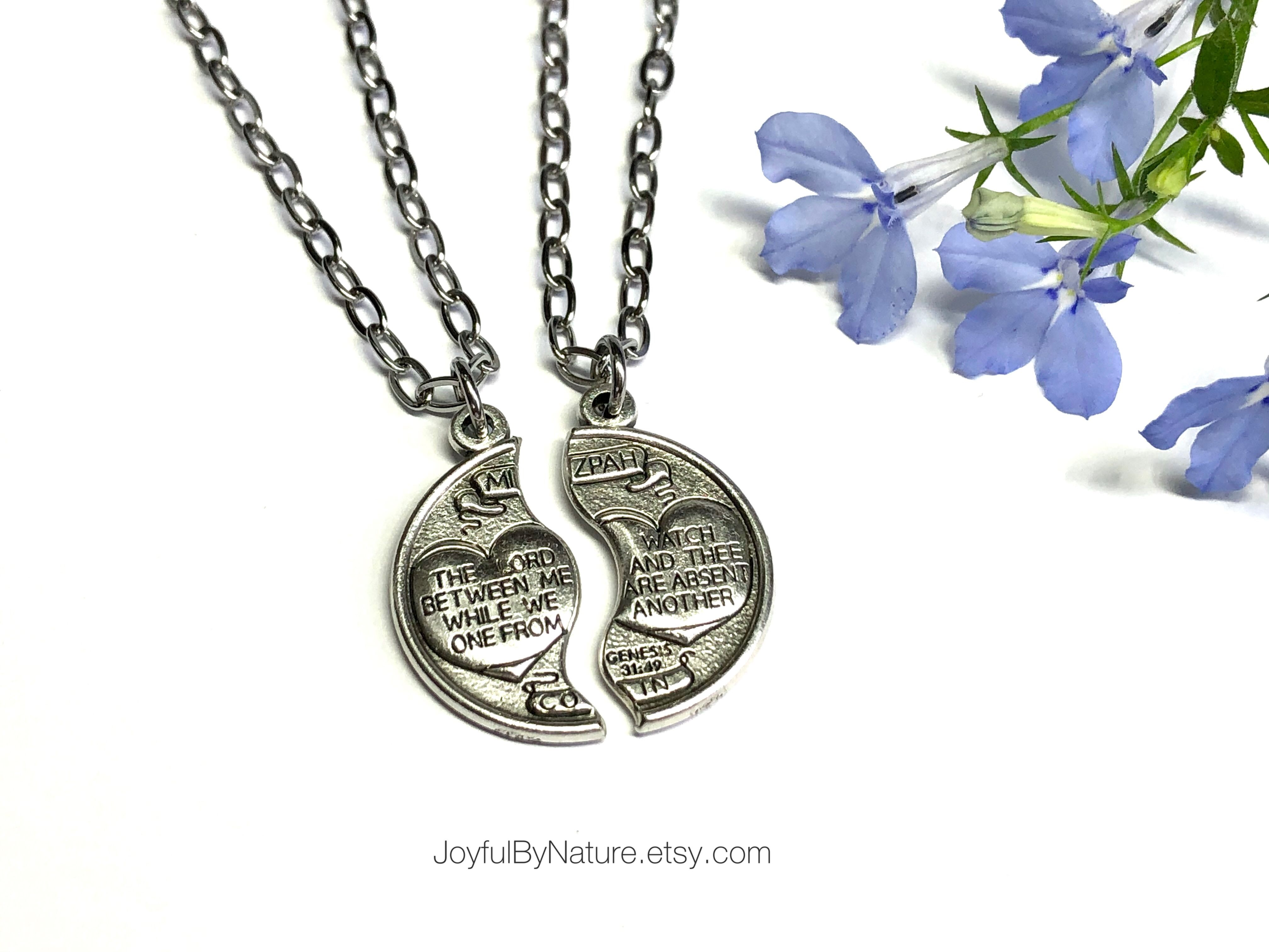 Photo of Couples Set of 2 Mizpah Protection Prayer Necklaces – Mother's Day Gift – Men's, Women's, Teen's Christian Jewelry – Social Distancing