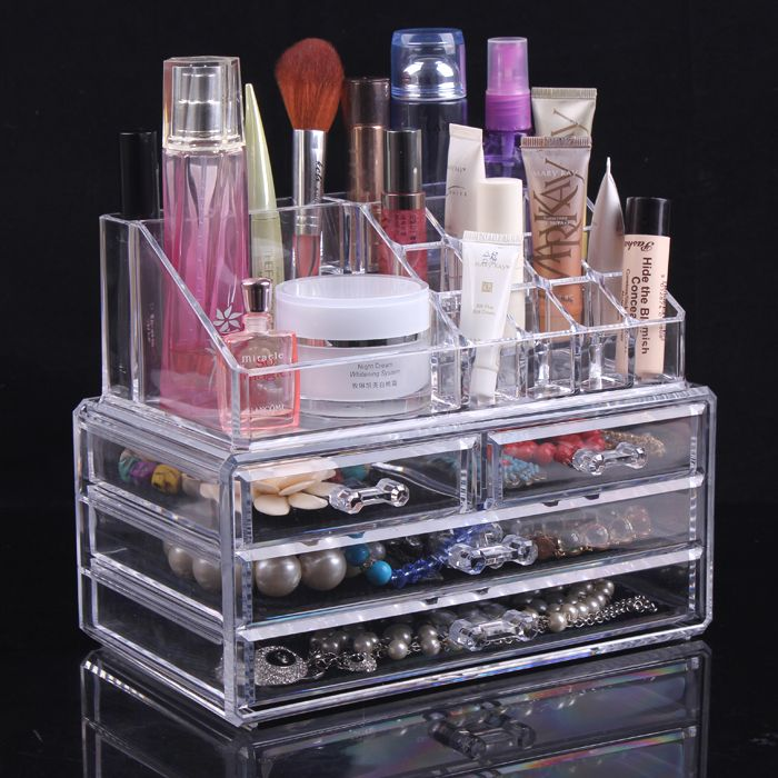 New Clear Acrylic Makeup Organizer Cosmetic Storage Stand Holder Cases Acrylic Makeup Boxeschina Mainland