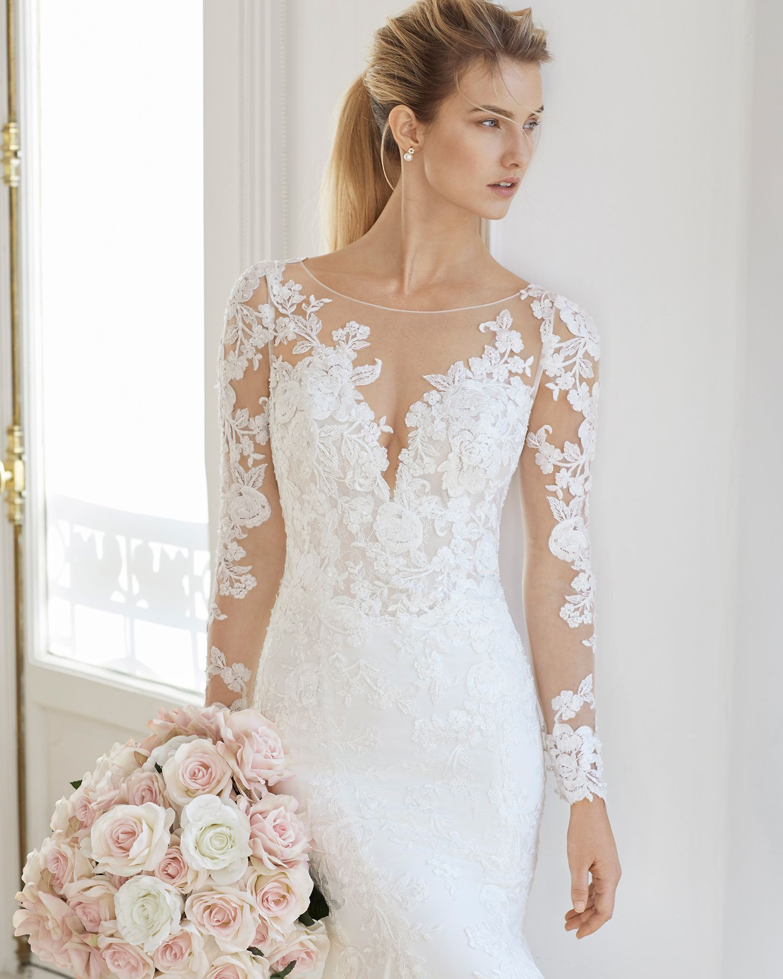 1860e1646886 Mermaid-style wedding dress in crepe Georgette and beaded lace. Illusion  neckline and long sleeves. Available in natural. 2019 AIRE BARCELONA  Collection.