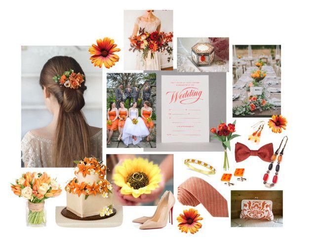 Orange wedding by vualia on Polyvore featuring мода, Allurez, Skinny Tie Madness, Marby & Elm, summerwedding, outdoorwedding, weddingdecor and orangewedding