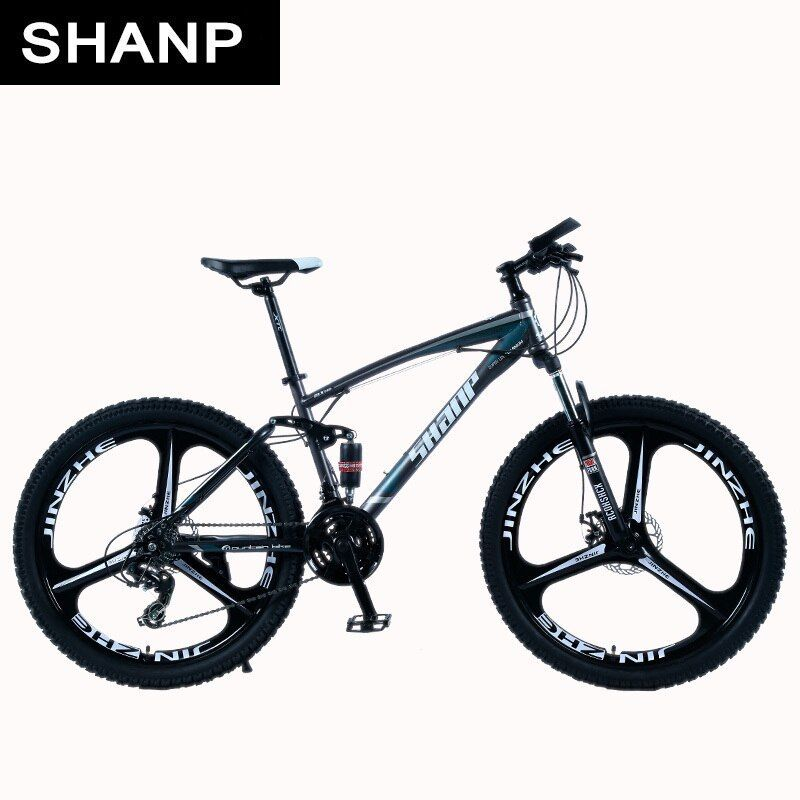 Shanp Mountain Bike Full Suspension Frame Steel Brake Disc Mechanical 24 Speed Shimano 26 Alloy Wheels Mountain Biking Full Suspension Mountain Biking Gear