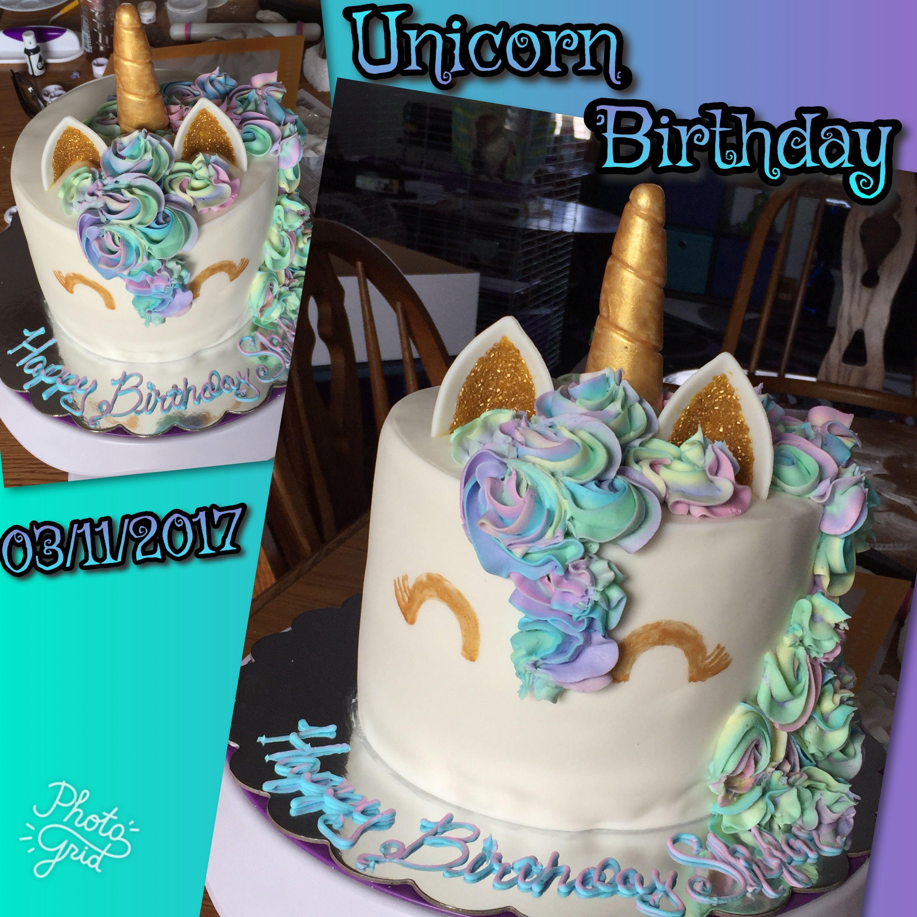 Unicorn Birthday. Marble cake w/fondant & frosting ...