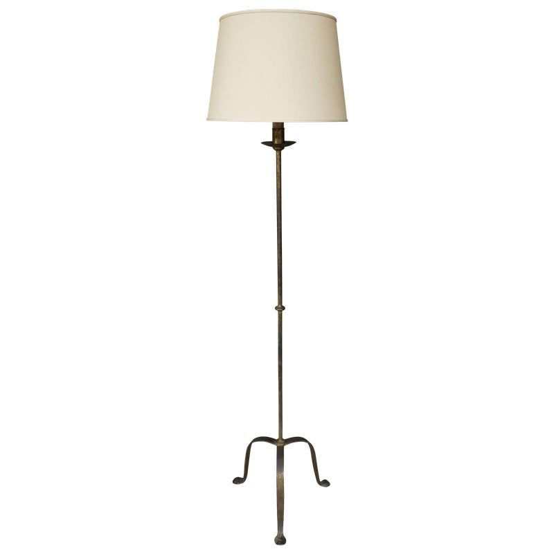 Iron Floor Lamp On A Tripod Base With A Dark Gold Patina In 2020 Floor Lamp Iron Floor Lamp Lamp