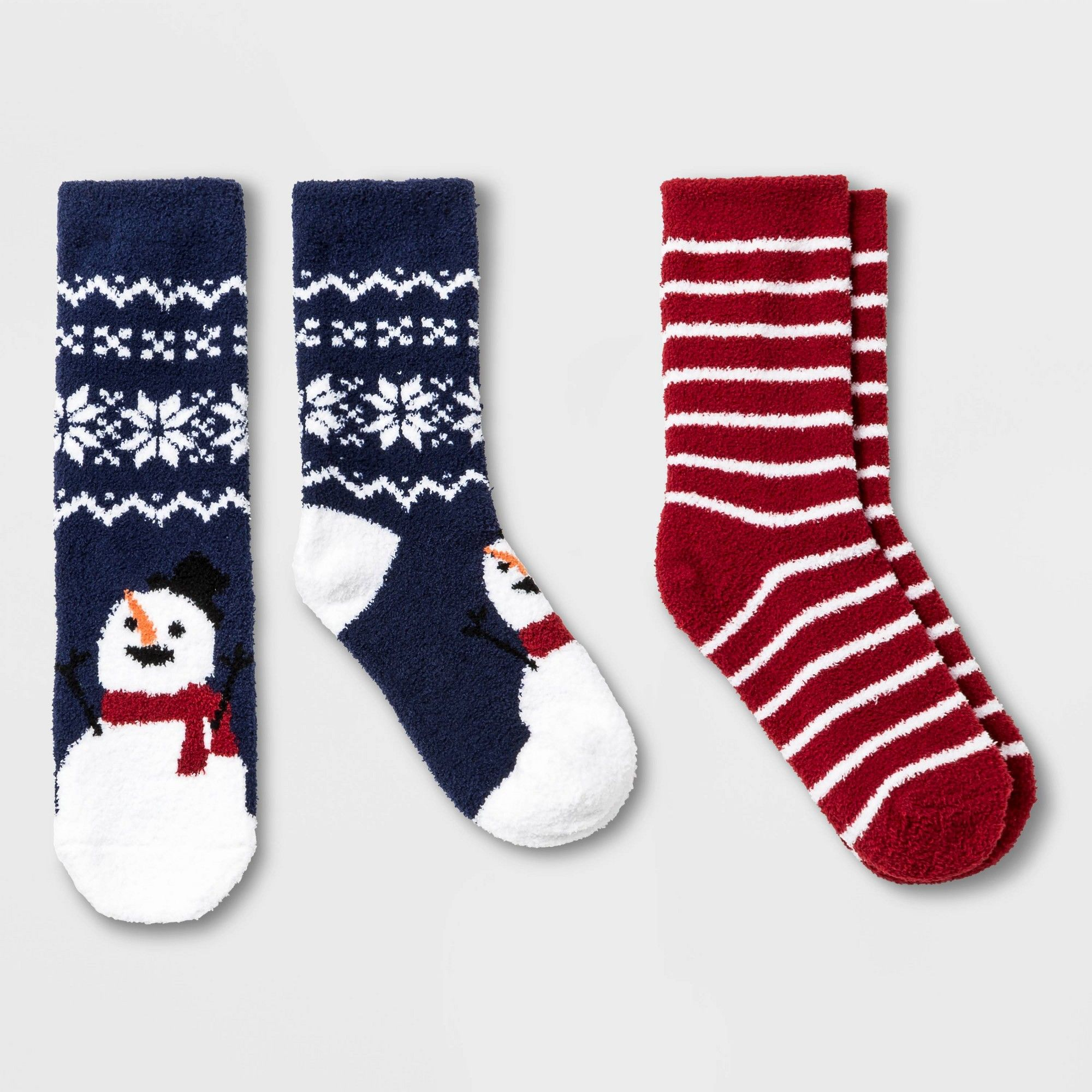 2pk Crew Socks Snowman Polka Dots One Size Woman/'s red//blue Holiday Xmas Target