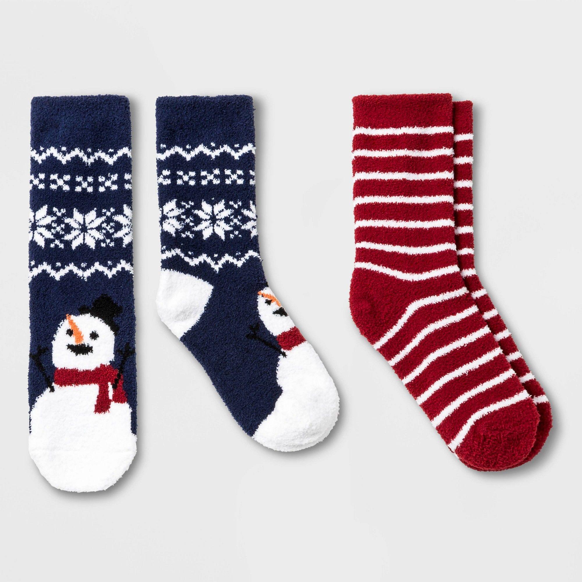 Holiday Socks Christmas Snowman Penguin Bear Ladies Gray Crew