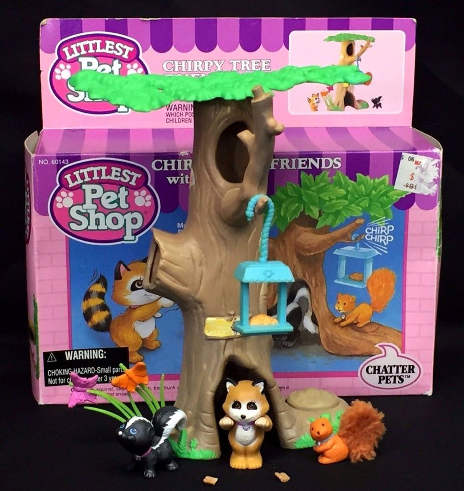 Vintage Littlest Pet Shop Chirpy Tree Friends Raccoon Skunk