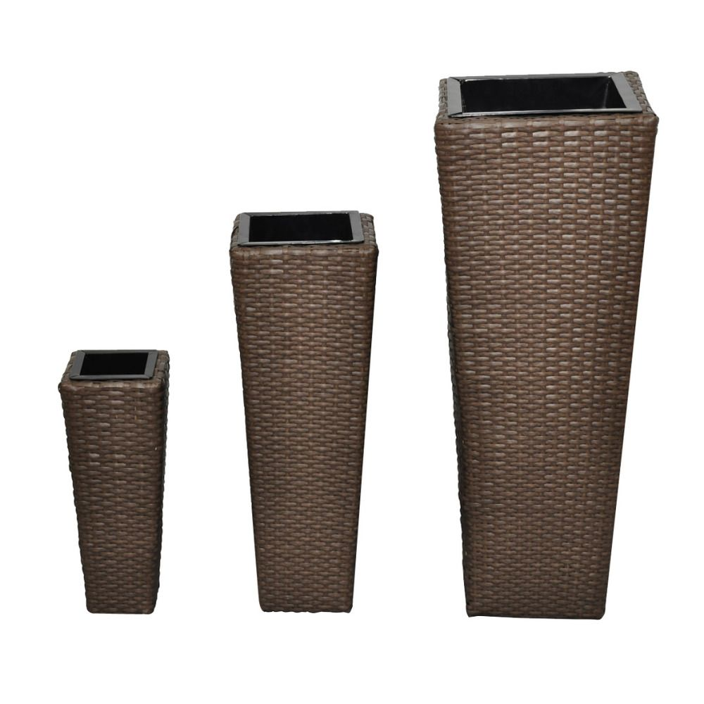 Brown Rattan Flower Planters Set 3 Piece Garden Pots Door Porch Pool Decoration With Images