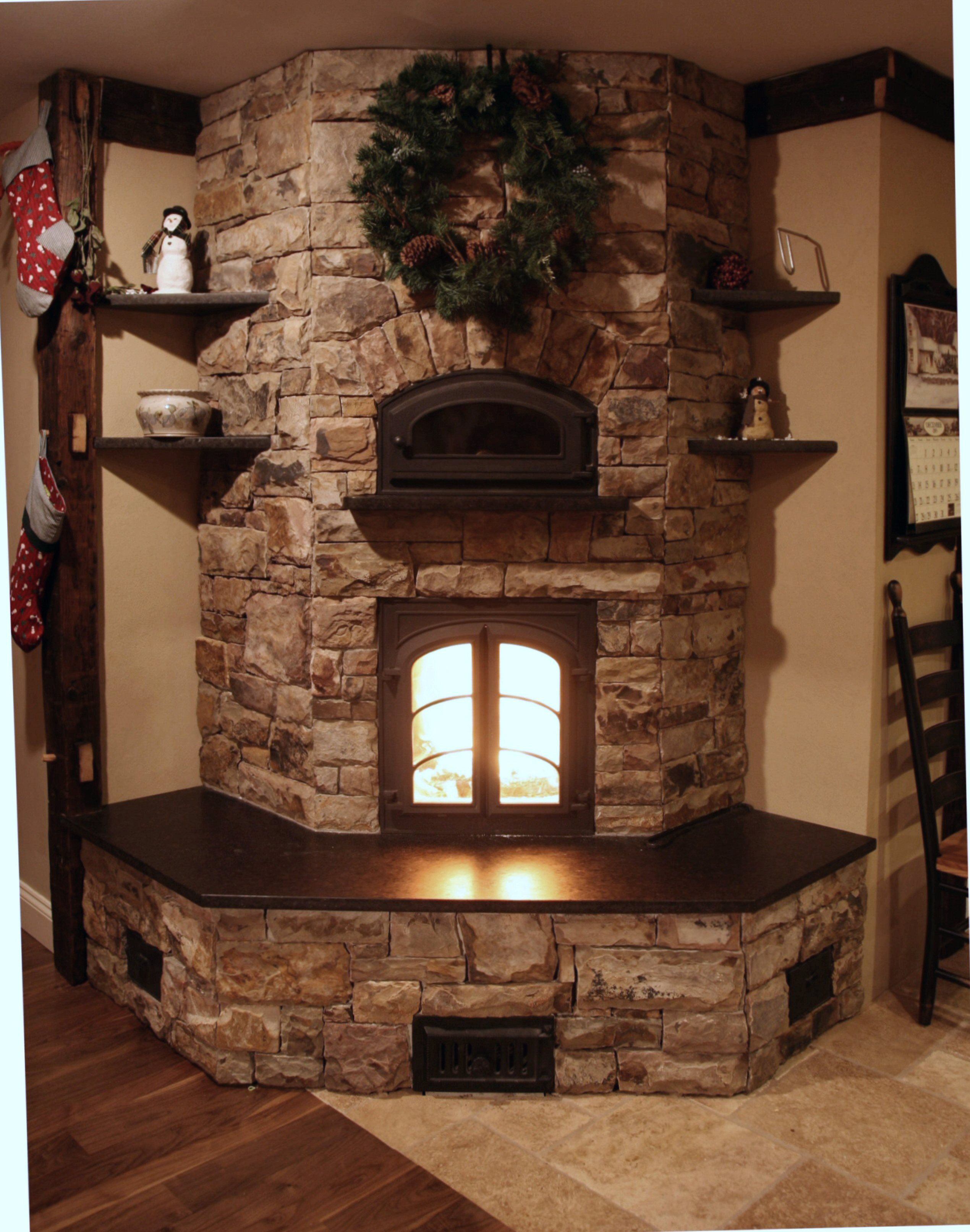 Country Style Stacked Stone Fireplace Corner Eith Insert And Many