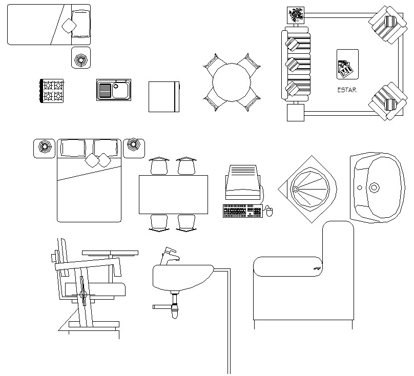 Autocad 2d Drawing Shows Assorted Furniture Blocks Download The Dwg File To Get These Blocks Cadbull Autocad Furniture Bedroom Furniture Design