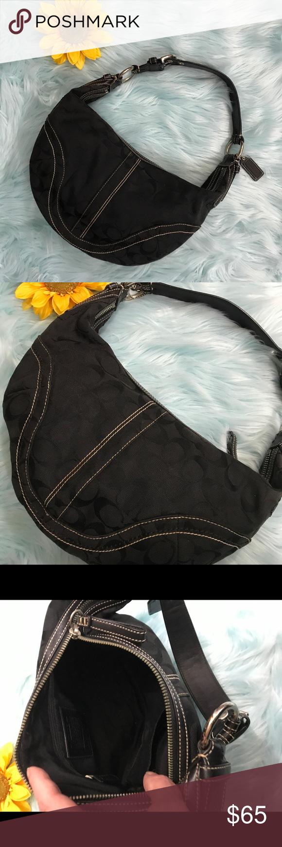 f0c0d2a02c3 Spotted while shopping on Poshmark  Coach Black Canvas Signature Leather  Soho Hobo bag!  poshmark  fashion  shopping  style  Coach  Handbags