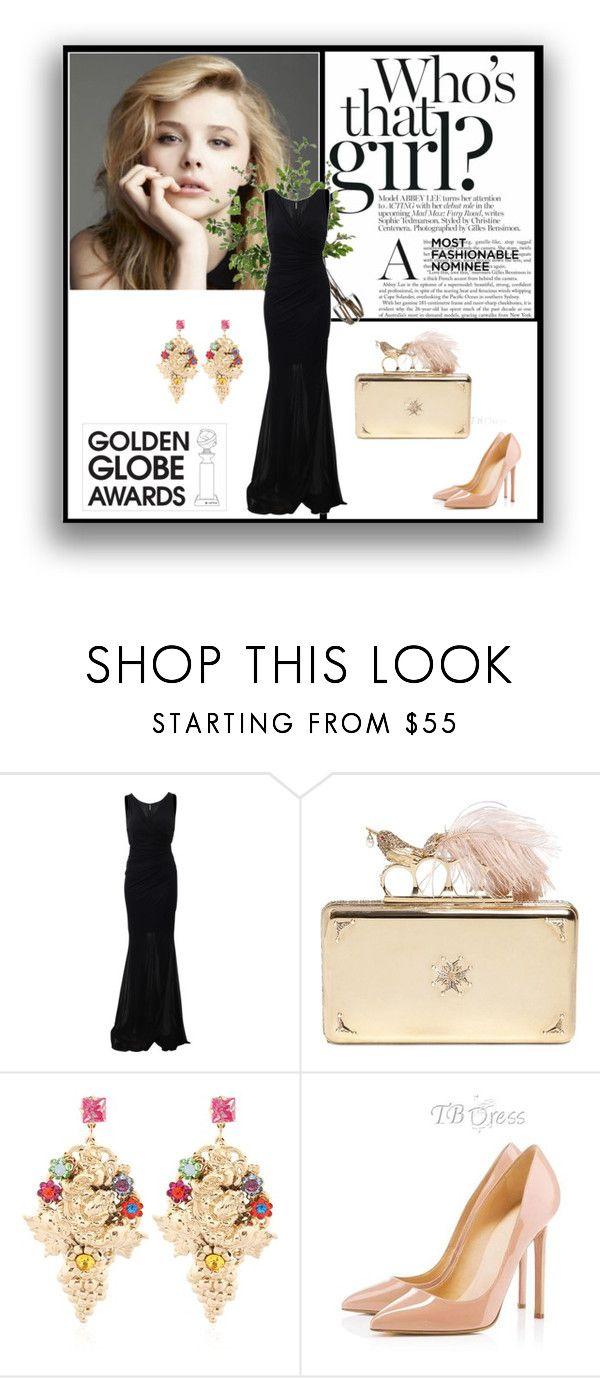 """Golden Globe Nominee: Chloë Grace Moretz"" by anasdym ❤ liked on Polyvore featuring мода, Blumarine, Alexander McQueen, Halo & Co. и Diane James"