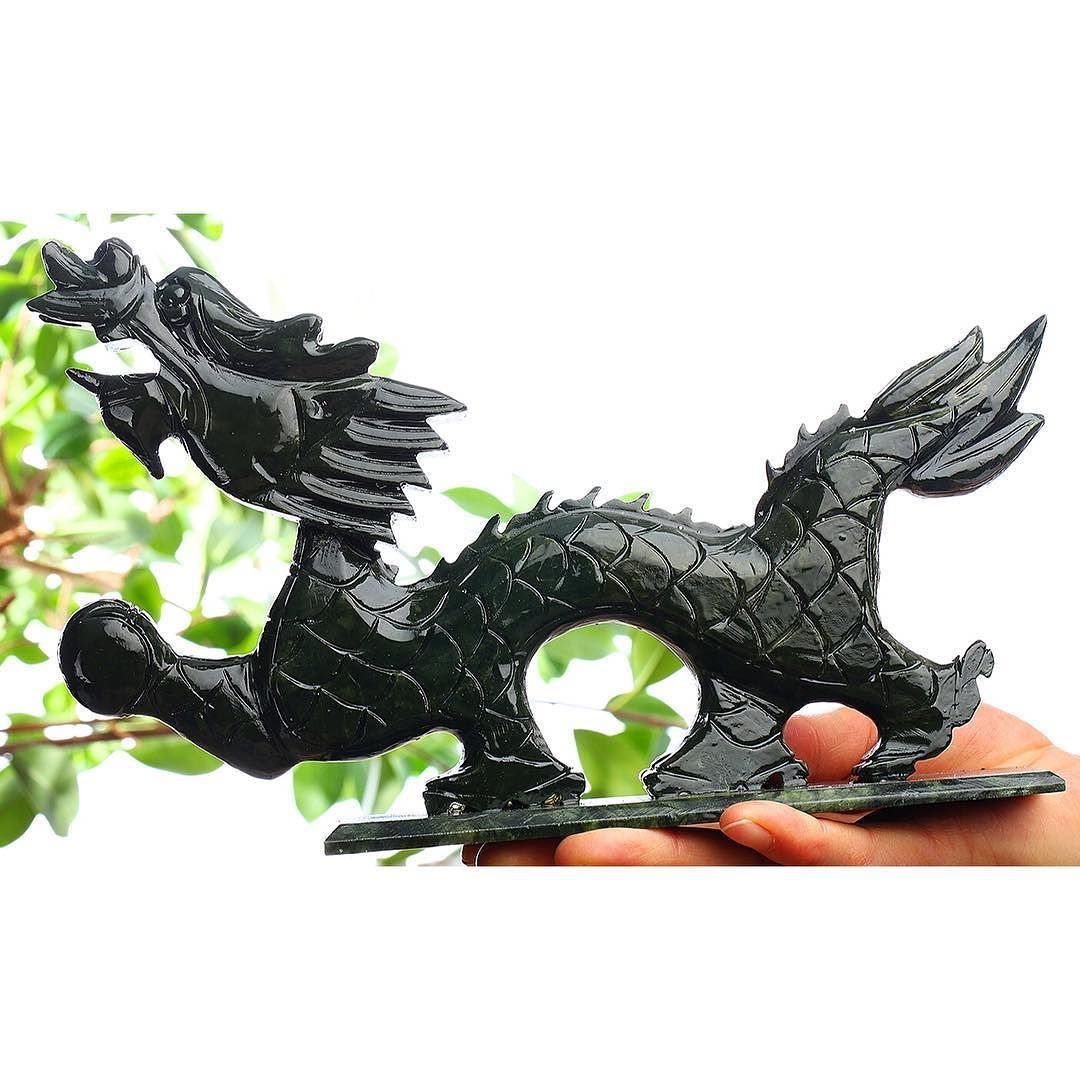 """11"""" Green Jade Fierce Dragon Carving Sculpture with a perfect polish. True Asian Art   Available for sale now. DM if interested.   #jade #greenjade #carving #sculpture #asianart #fiercedragon #amazing"""