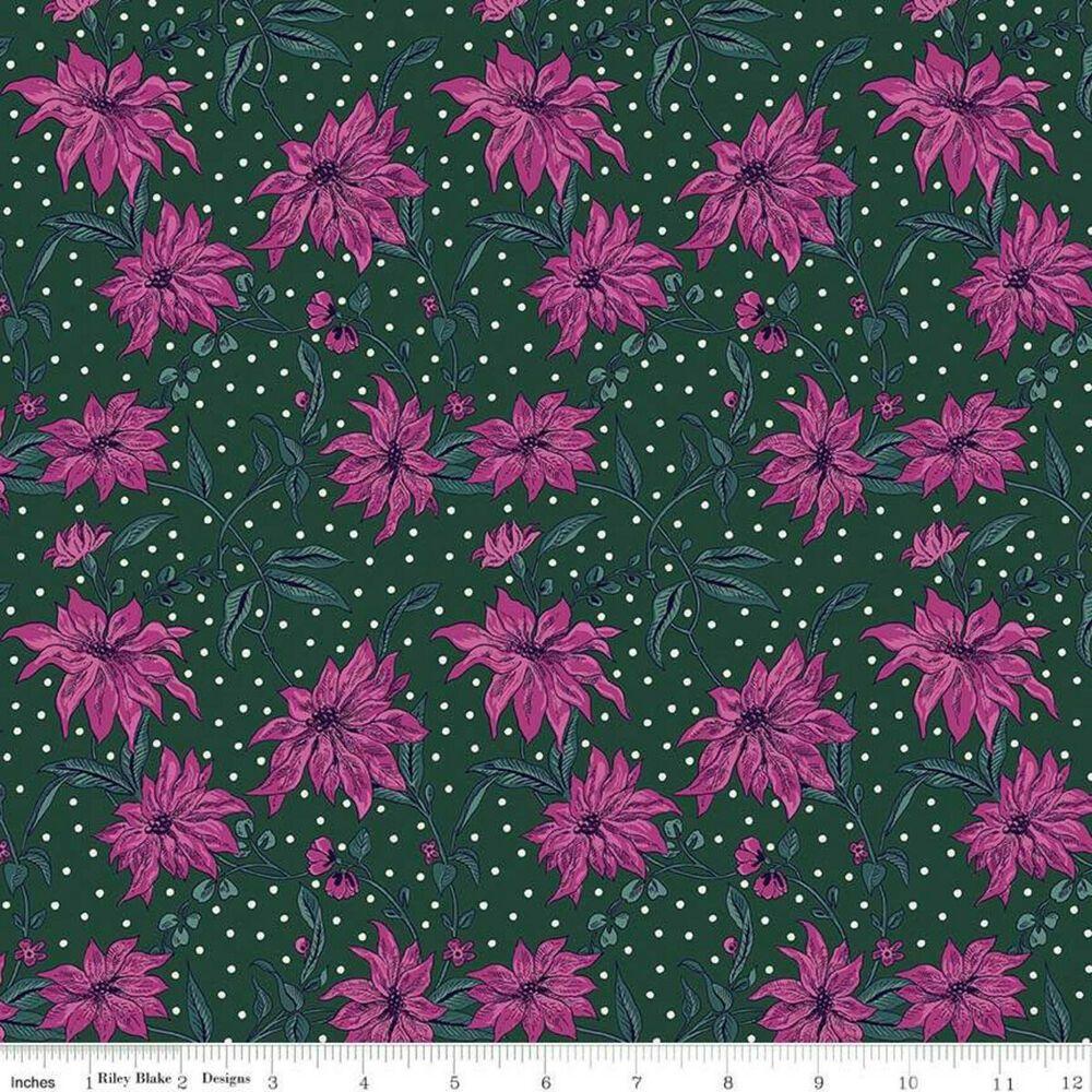 Liberty Quilt  Season/'s Greetings Poinsettia Pink /& Green Metres FQ 100/% Cotton