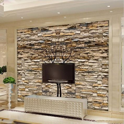 3d Brown Stone Wall Photo Wallpaper Custom Mural Home Or Business In 2020 Tv Wall Decor Stone Wallpaper Wall Design