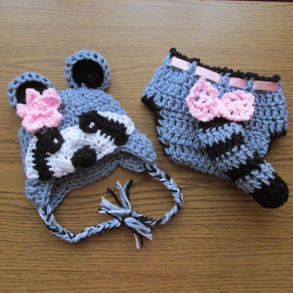 Racoon crochet hat and Diaper cover Set | Gorros, Gorro tejido y ...