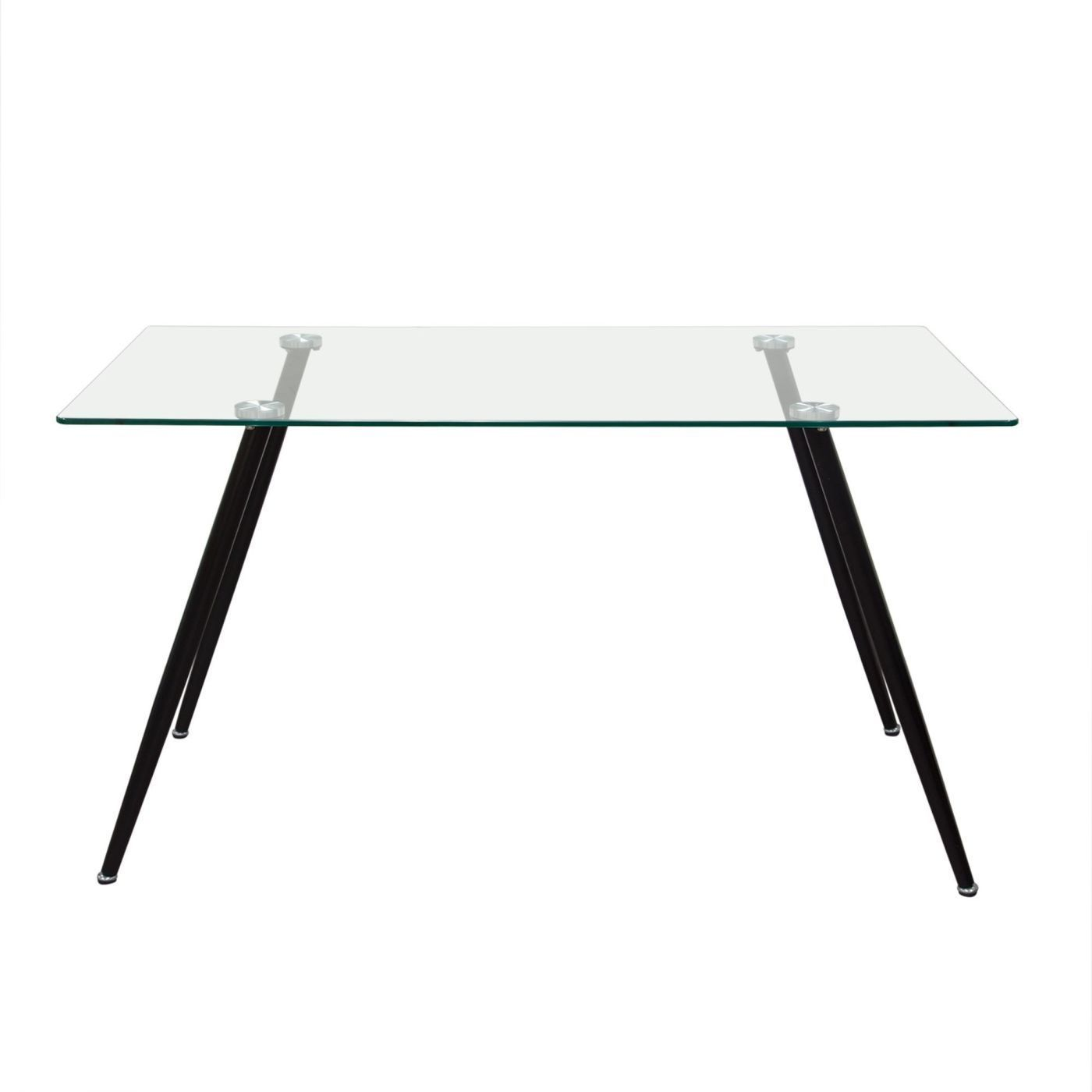 Diamond Sofa Finn Rectangular Glass Top Dining Table With Black Powder Coated Metal Legs FINNDT Only 19899