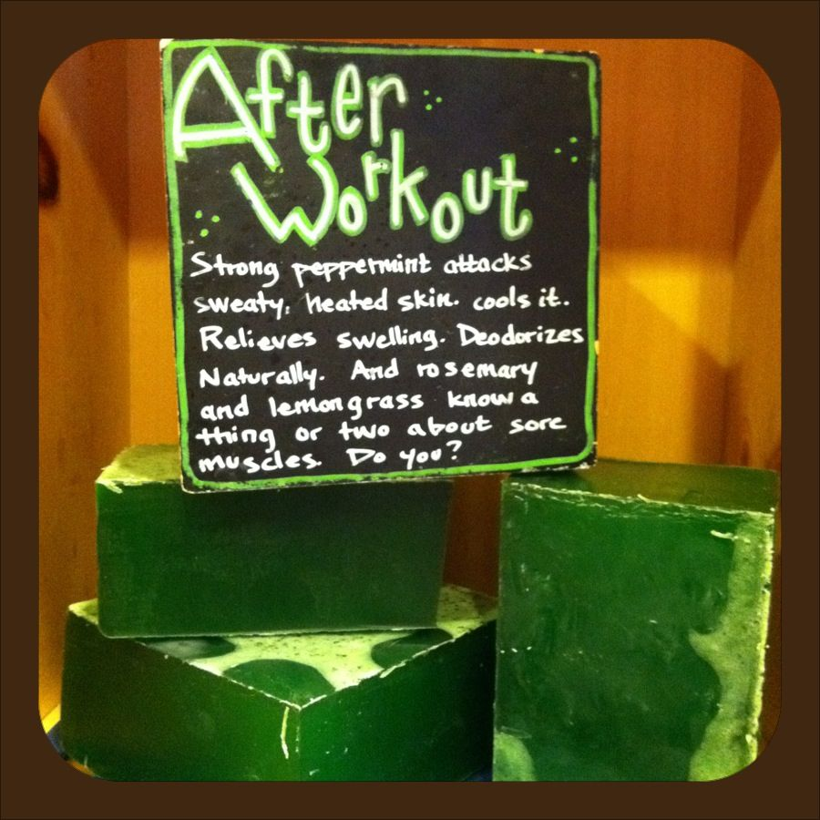 "This dark green, mysterious looking bar of soap is a TOP SELLER with our male customers. The peppermint, lemongrass & rosemary essential oils make After Workout soap a real ""Body Tingler"". Try it once and you'll be addicted to this super invigorating body soap! Use after a workout, hike, marathon or simply use on a hot, humid day. After Workout soap is like a Peppermint Pattie for your body! Available at www.latherandfizz.com and Amazon.com"