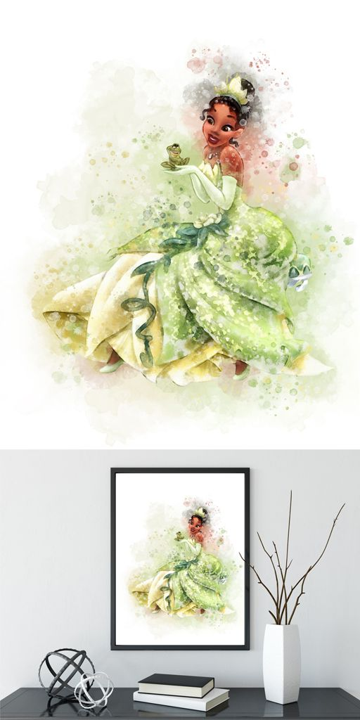 Princess Tiana wall art, Tiana Watercolor The Princess and the Frog ...
