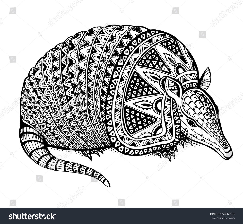 Vector Illustration Of A Totem Animal U002ftattoo Armadillo In