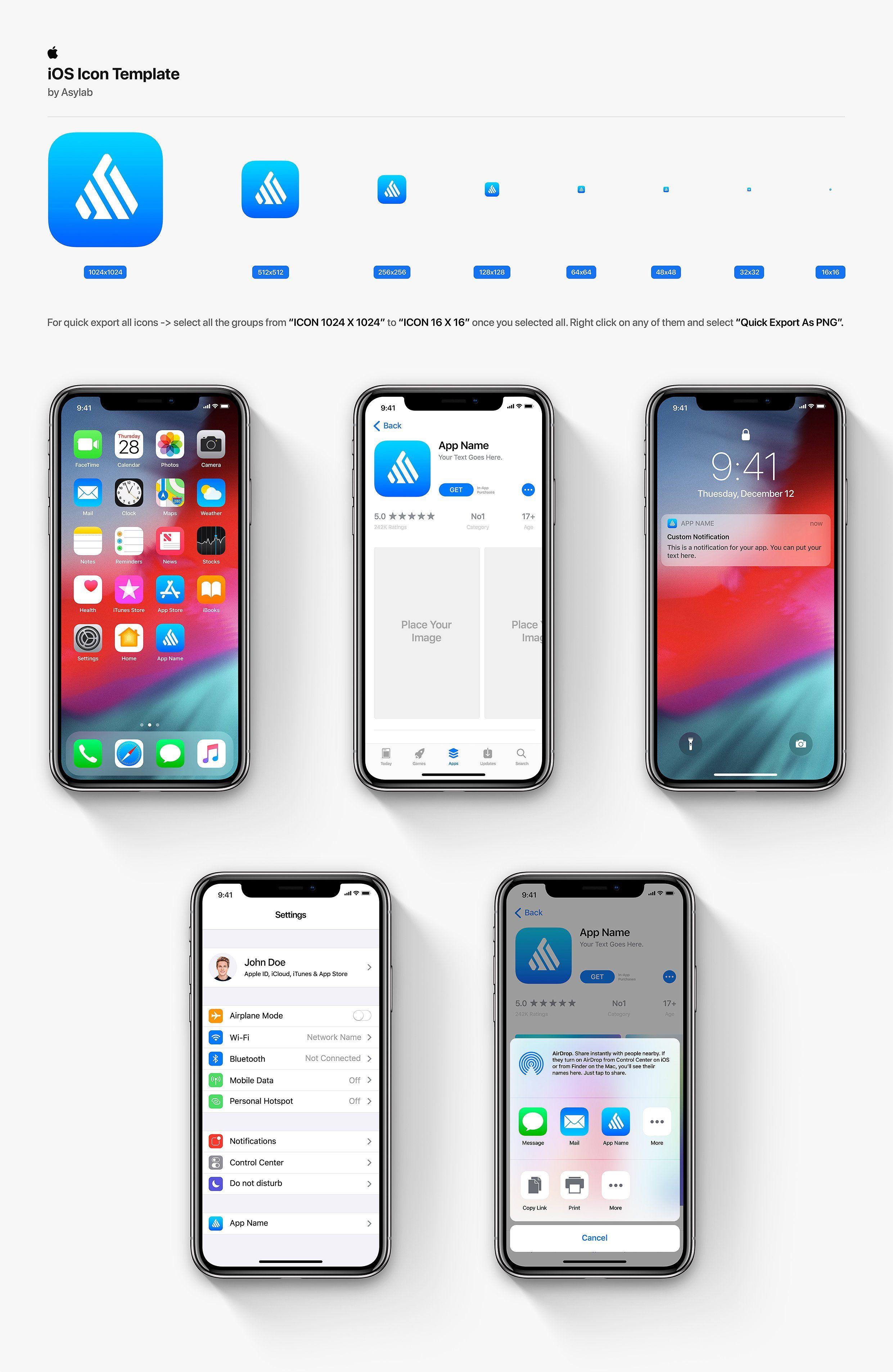 Mobile Os Icon Template Mockup Psd Ios Icon Ios App Icon