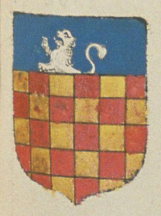 Fusaine / Suzanne LAMBUS, veuve de Jean TEXIER, seigneur de Seneuil, conseiller du roy au présidial de Poitiers. Porte : Echiqueté d'or et de gueules, à un chef d'azur, chargé d'un lion naissant d'argent | N° 381
