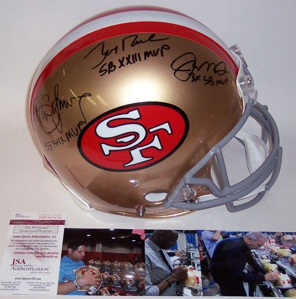 Jerry Rice   Joe Montana   Steve Young - Autographed Official Full Size Riddell  Authentic Proline 63c8d754b