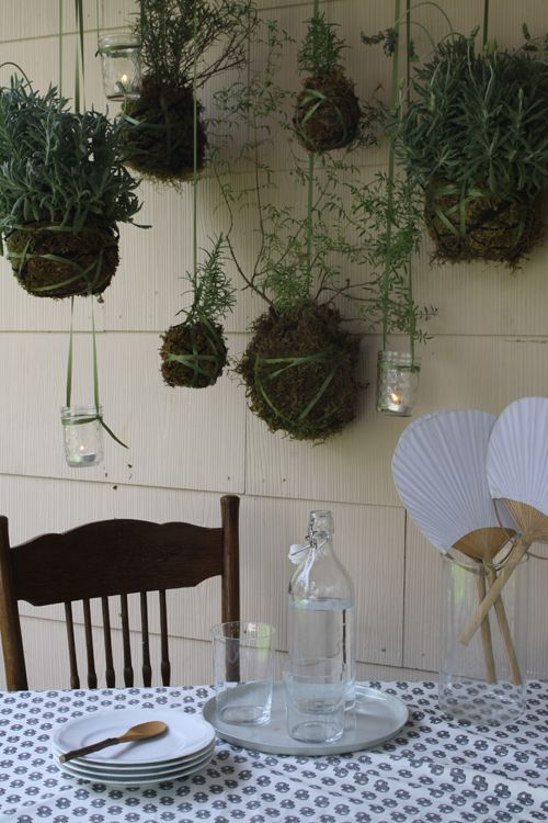 How to make rosemary and lavendar mosquito repellant hanging garden, inspired by traditional Japanese kokedama.  (Design Sponge)