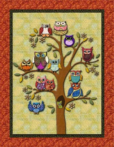 Swan Amity Branch Diversity fun applique quilt PATTERN for all owl lovers