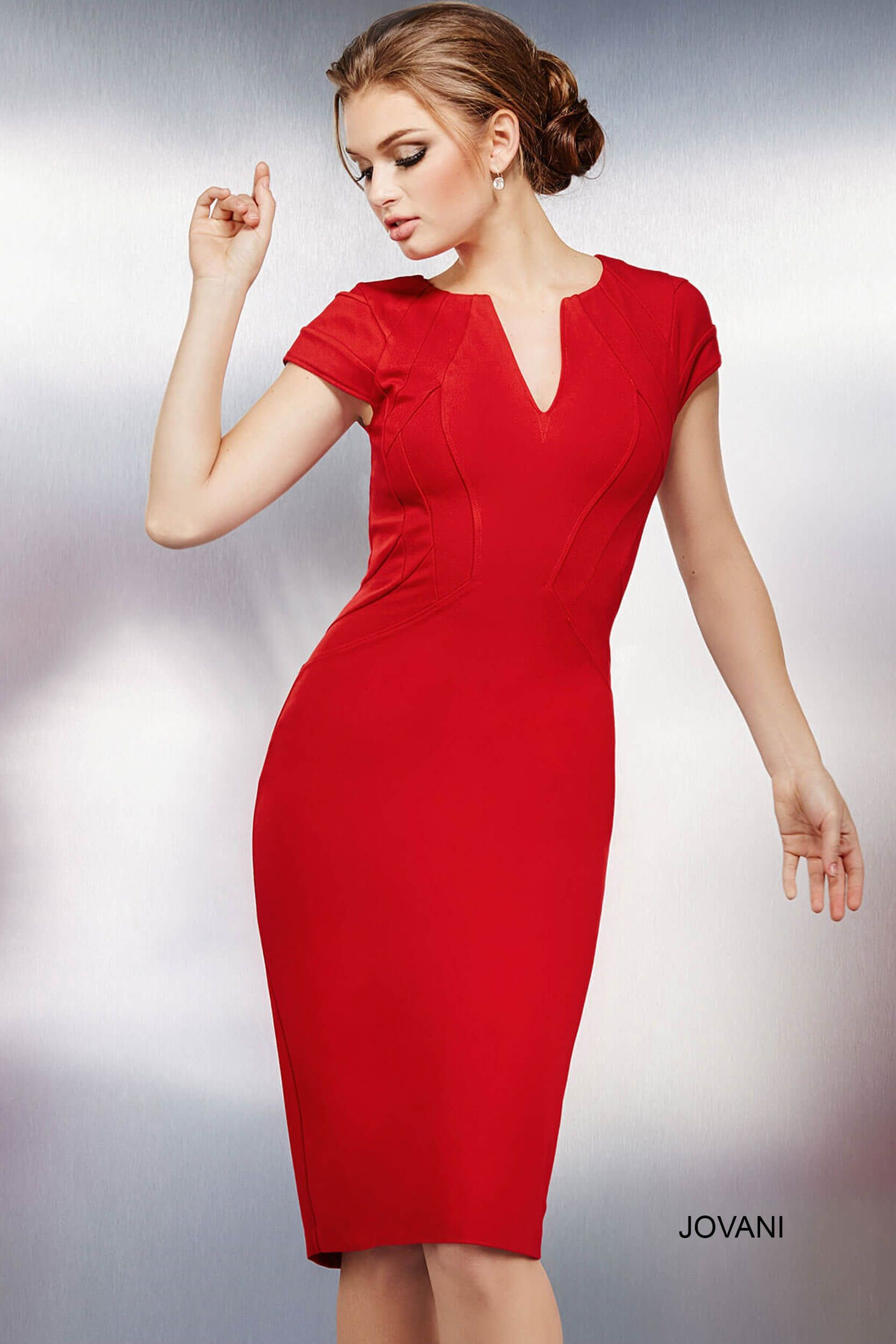 e9cb1fa35c074 Red Fitted Short Sleeves Dress 26564   Perfect Prom 2016 Cocktail ...