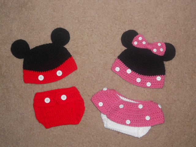 Twin Mickey Minnie Mouse Crochet Hat And Diaper Cover Crafty