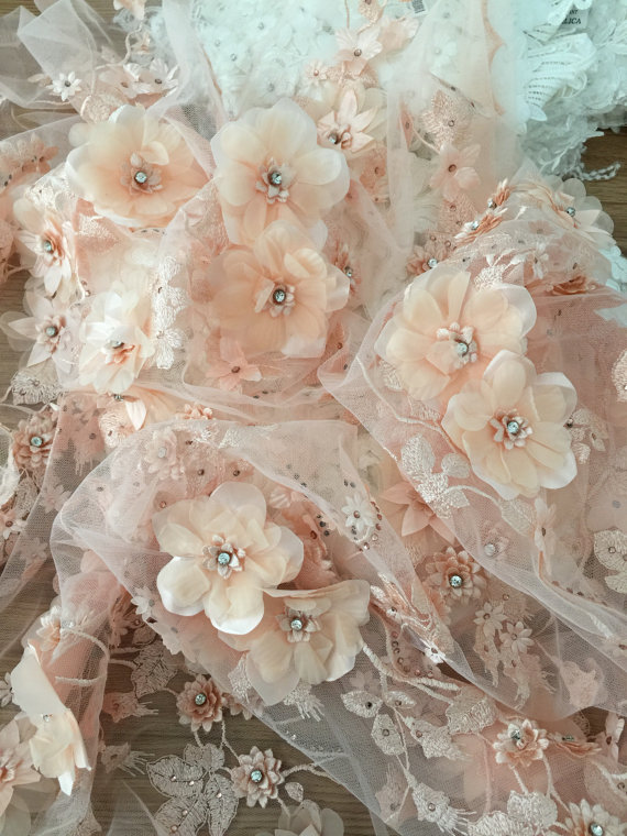 Dusty Rose/_Floral/_ 3D Flowers Beaded Embroider Mesh Lace Fabric By Yard//Fashion