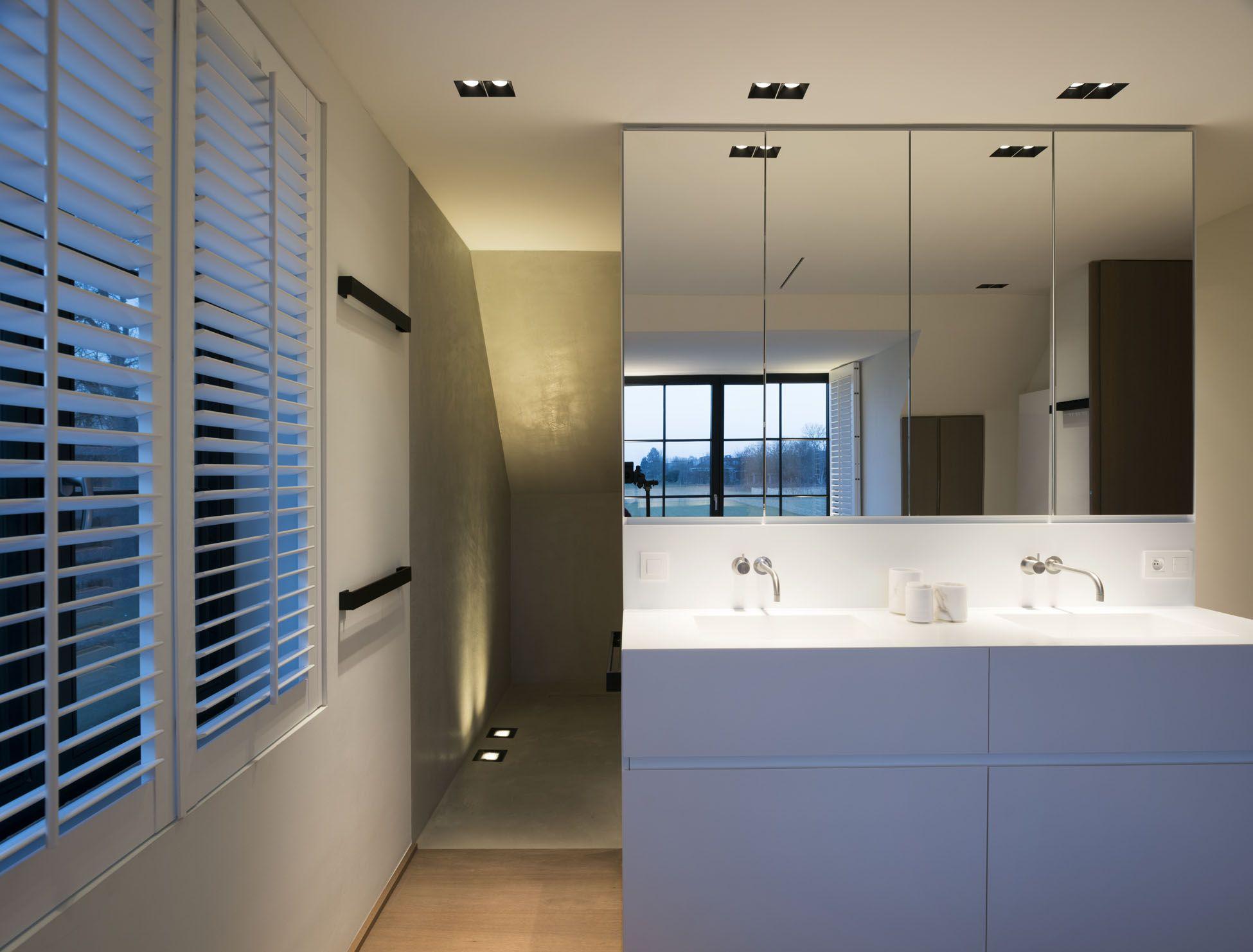bathrooms lighting. Kreon Lighting Minimalist Modern LED Design Architecture White Bathroom Walk In Shower Mirror Uplight Up Downlight Spotlight Recessed Sink Basin Bathrooms A
