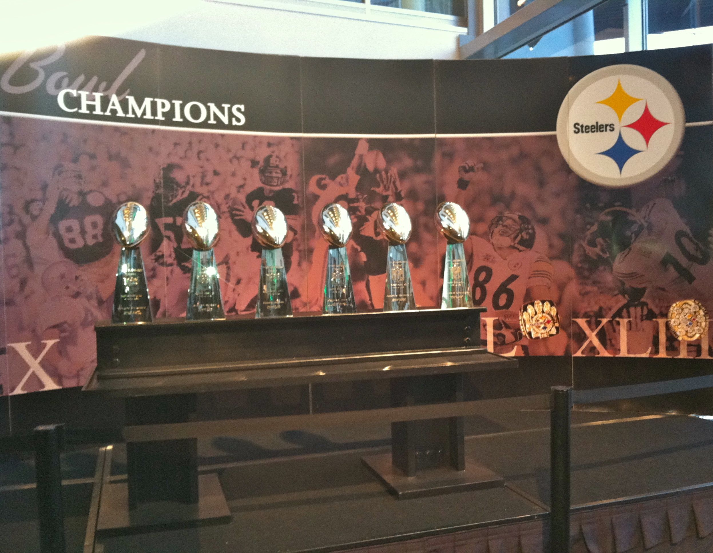 All Six Steeler Super Bowl Trophies On Display At Heinz Field