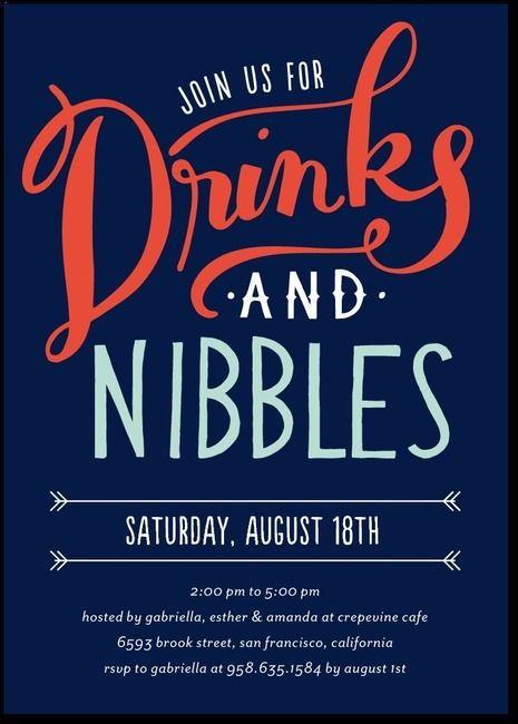 Drinks And Nibbles Party Invitations Event