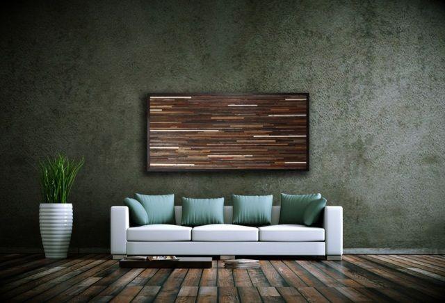 Wohnzimmer Dekoration-Ideen Holz-Recyceln Wand-Kunst ...