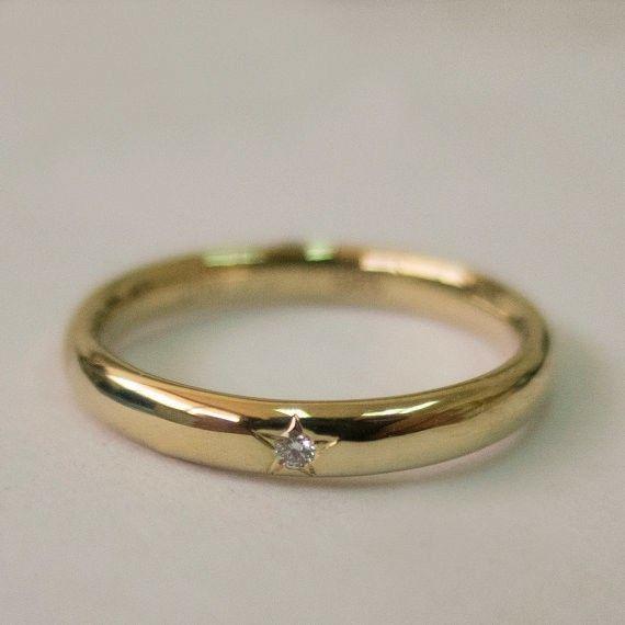 Gold Diamond Star Wedding Band
