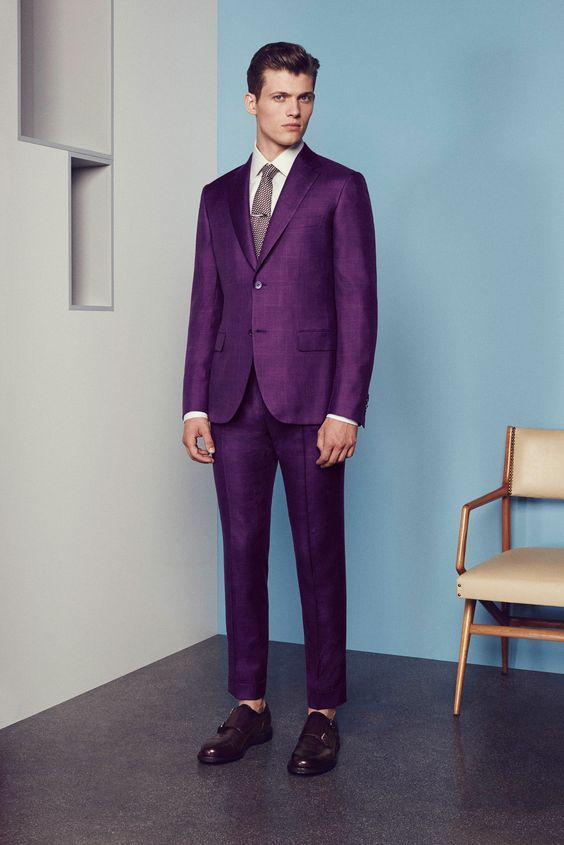 Click to Buy << Latest Coat Pant Designs Purple Men Suit Slim Fit ...