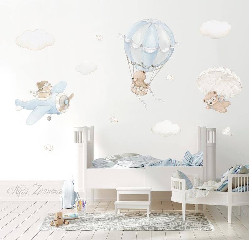 Repositionable Fabric Wall Decal BEARS in the AIR Nursery