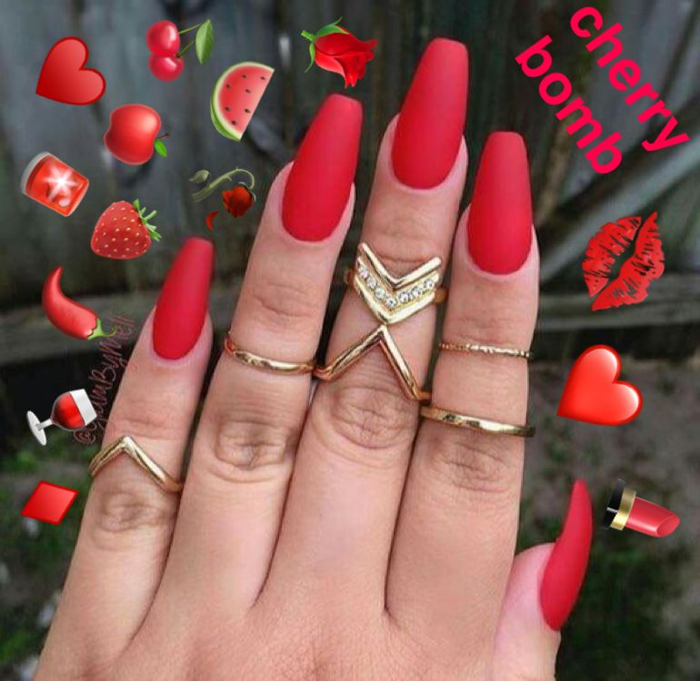 Cherry Bomb Nails Red Gel Nails Red Matte Nails Cherry Nails