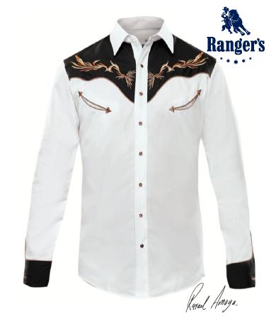 f4c0352b2 Camisa Vaquera Rangers Rafael Amaya Collection Modelo RAN 61 Color  Blanco Negro